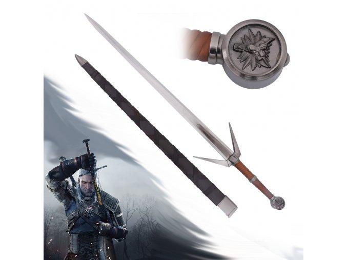 """Zaklínačský stříbrný meč """"GERALT OF RIVIA"""" replika"""