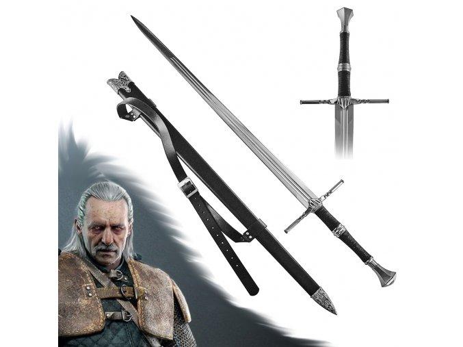"""Luxusní meč Zaklínač ocelový """"VESEMIR'S SWORD"""" s pevnou pochvou a popruhem!"""
