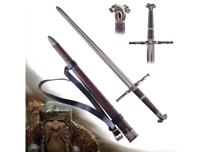 """Funkční Zaklínačský/Witcher meč z damaškové oceli """"STEEL OF MAHAKAM"""" s pevnou pochvou a popruhem!"""
