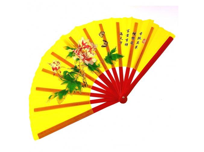 """Dřevěný Tai-chi vějíř """"SHAOLIN MONK"""" žlutý"""