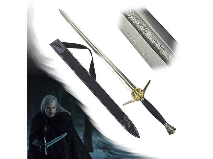 """Funkční Zaklínačský meč z damaškové oceli """"BUTCHER FROM BLAVIKEN"""" + pochva se zádovým popruhem"""