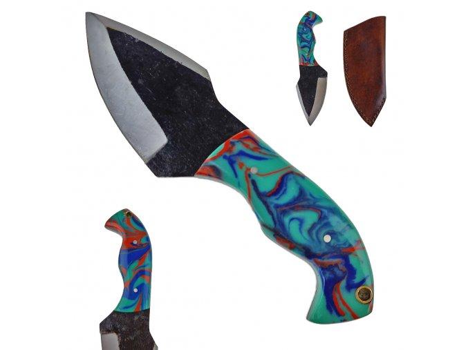 """Masivní pevný nůž """"PSYCHO OF COLORS"""" s koženým pouzdrem"""