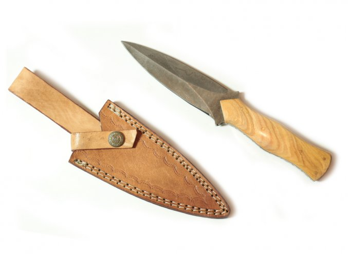"""Damaškový nůž """"STEEL DIAMOND"""" obousečný s koženým pouzdrem"""