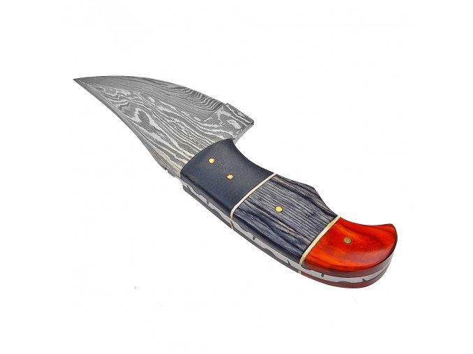 """Krátký damaškový nůž """"SHARK TOOTH"""" - dva druhy dřeva"""