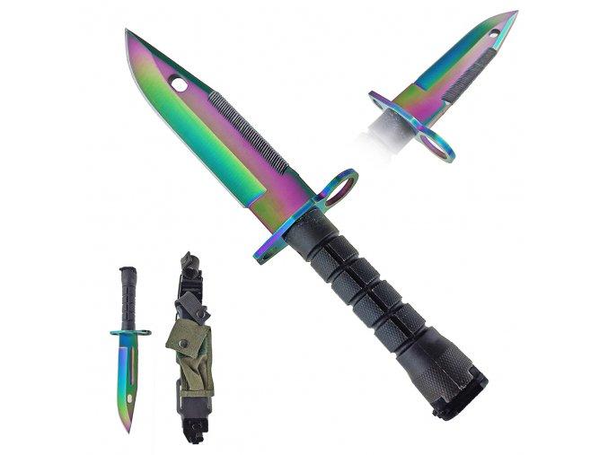 """Taktický nůž """"M16/M4"""" bajonet 4v1! RAINBOW"""