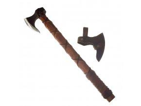 """Kovaná vikingská sekera """"ONEHAND DANAX"""" s koženým opletem! II jakost!!!"""