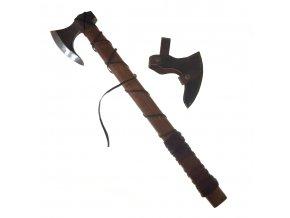 """Kovaná vikingská sekera """"ONEHAND DANAX"""" s koženým opletem! II jakost - verze II"""