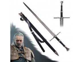 """Luxusní OSTRÝ meč Zaklínač/Witcher """"VESEMIR'S SWORD"""" s pevnou pochvou a popruhem!"""