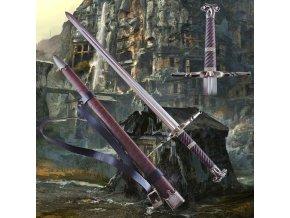"""Funkční Zaklínačský meč z damaškové oceli """"Steel of Mahakam"""" s pevnou pochvou a popruhem!"""