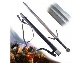 """Funkční Zaklínačský meč z damaškové oceli """"SCHOOL OF WOLF"""" s pevnou pochvou a popruhem!"""