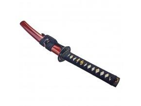"""Červené samurajské tanto """"KUNIMITSU"""" s dřevěným boxem"""