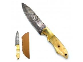 """Damašek s Damaškový nůž s kostěnou rukojetí """"BAD TO THE BONE"""""""