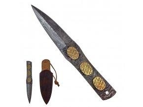 """Malý damaškový vrhací nůž """"GOLDEN EYE"""" s koženým pouzdrem"""