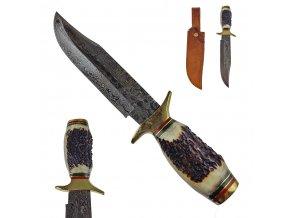 """Masivní damaškový nůž """"KING OF STAGS"""" s koženým pouzdrem"""