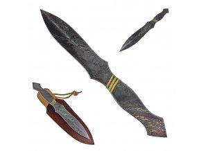 """Damaškový vrhací nůž """"GOLDEN STRIPES"""" s koženým pouzdrem"""