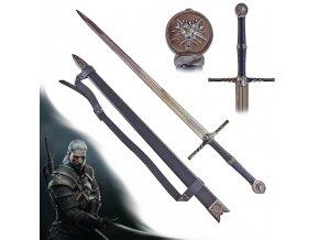 """Dlouhý Zaklínačský meč - ocelový """"STEEL SWORD"""" s pevnou pochvou a popruhem!"""