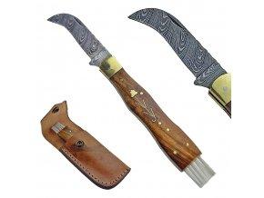 """Damaškový houbařský nůž """"FOREST"""" s koženým pouzdrem"""