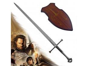 "Aragornův meč ""ANDURIL - SWORD OF GONDOR"" plamen západu - replika s plaketou"