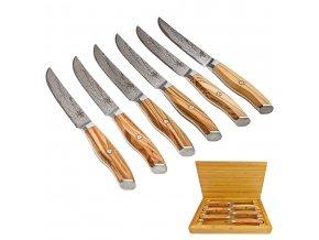 """Sada 6 damaškových steakových nožů """"YUMMI YUMMI"""" s dřevěným boxem"""