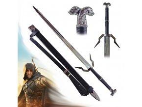 """Zaklínačský stříbrný meč """"HERO OF KINGDOMS OF NORTH"""" se zádovým popruhem"""