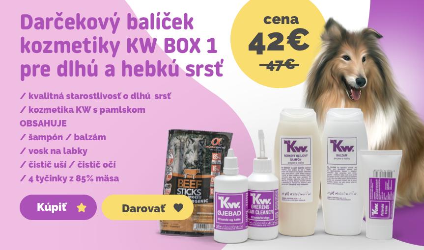 Darčekový balíček kozmetiky KW BOX 1 pre dlhú a hebkú srsť