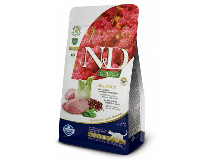 431 08 ND Quinoa feline 1,5kg Adult DIGESTION LAMB [3D Front+Right]