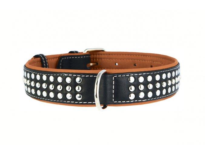 Plochý kožený obojok pre psy SOFT čierno hnedý vybíjaný