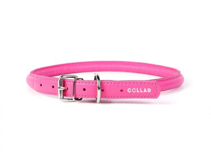 Okrúhly kožený obojok pre psy ružový