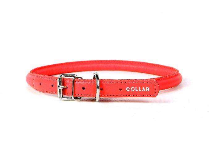 Okrúhly kožený obojok pre psy červený