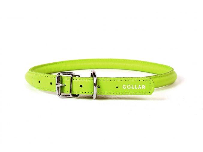 Okrúhly kožený obojok pre psy zelený