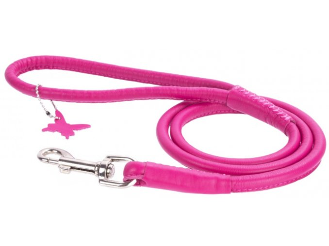 106 okruhle kozene voditko ruzovej farby 122cm