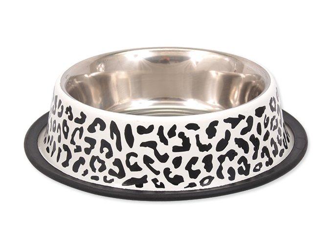 DOG FANTASY nerezová miska s gumou leopard 23 cm (700 ml)