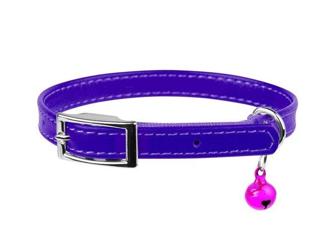 kožený obojok pre mačku fialový