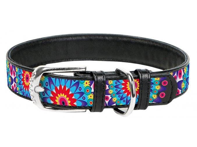 collar kožený obojok flower čierny 1