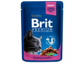 BRIT Premium cat Kapsička Adult Chicken & Turkey 100 g