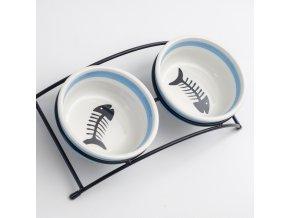 Set MAGIC CAT misky keramické so stojánkom modré