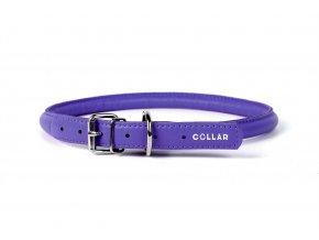 Okrúhly kožený obojok pre psy fialový