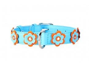 Plochý kožený obojok pre psy s kvietkami modrý