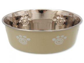 DOG FANTASY nerezová miska s gumovým spodkom béžová-tlapka 13 cm (350 ml)