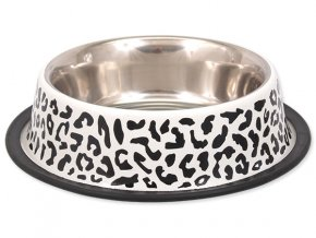 DOG FANTASY nerezová miska s gumou leopard 29 cm (1800 ml)
