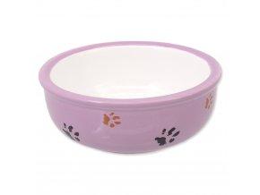 MAGIC CAT Miska pre mačky keramická mačacia labka fialová 13 cm
