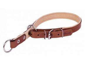 collar polostahovaci poloskrtici obojok pre psa nastavitelny hnedo bezovy