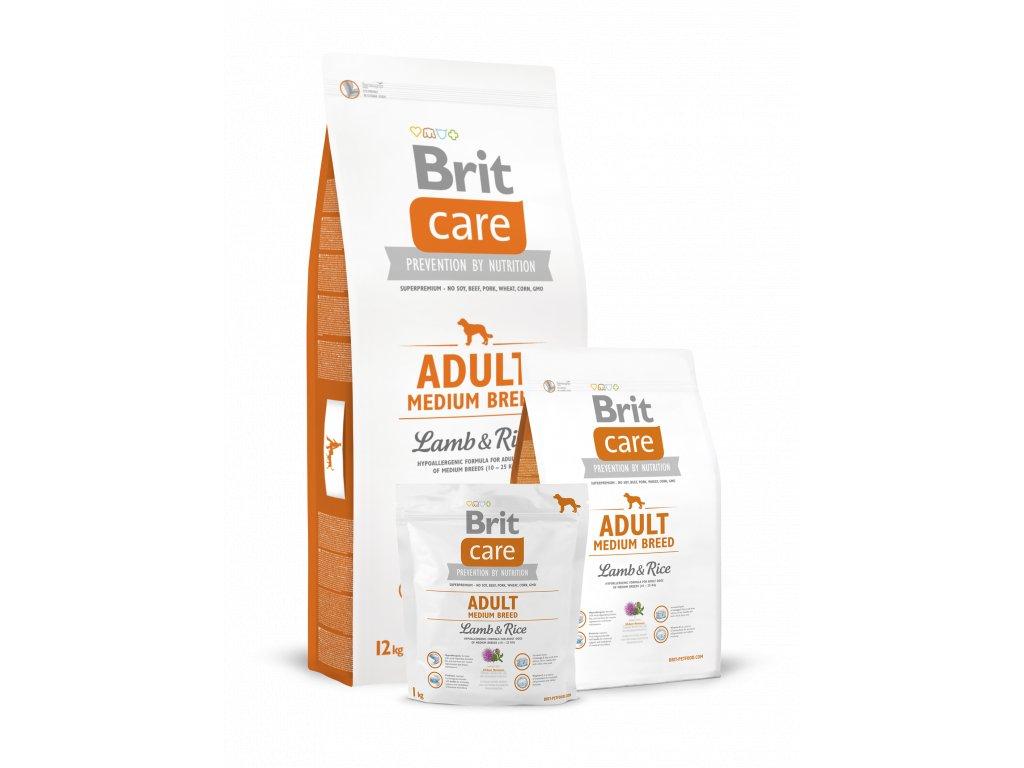 krmivo granule Brit Care Lamb & Rice Adult Medium Breed