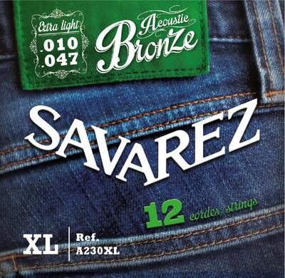 Savarez ACOUSTIC A230XL (Bronze) - Struny pro dvanáctistrunnou kytaru - sada