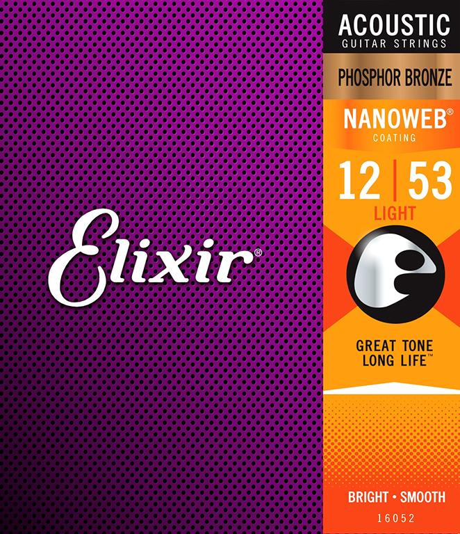 ELIXIR NANOWEB Phosphor Bronze 012-053 Struny na akustickou kytaru - sada