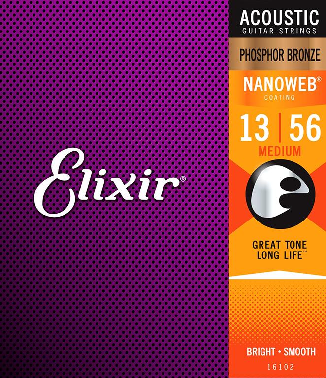 ELIXIR NANOWEB Phosphor Bronze 013-056 Struny na akustickou kytaru - sada