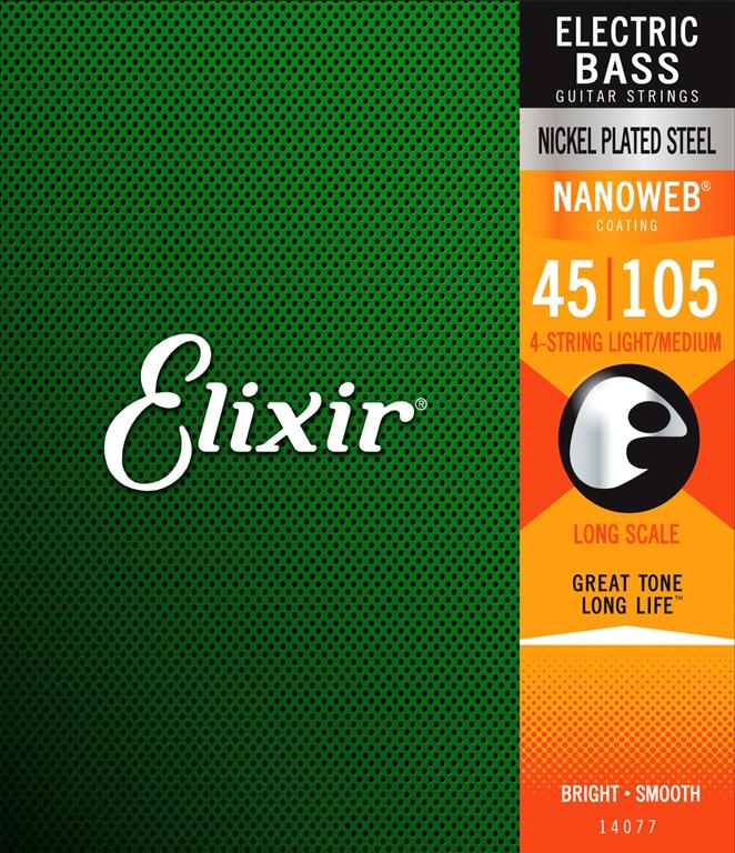 ELIXIR NANOWEB Nickel plated 045-105 4 str. Baskytarové struny - sada