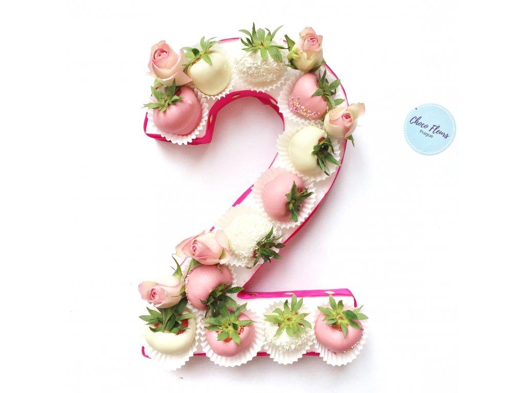 Číslice z jahod a květin - velká