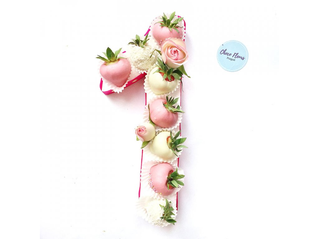 Číslice z jahod a květin - malá