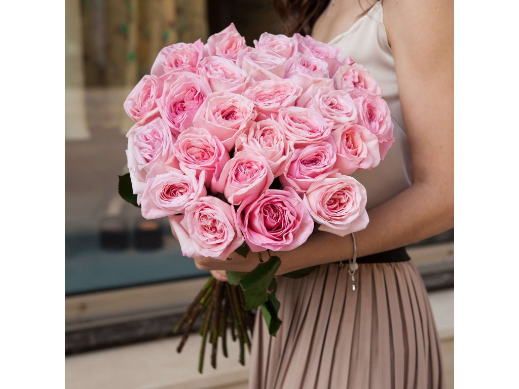 Kytice z Pink O'hara růží (25 ks)